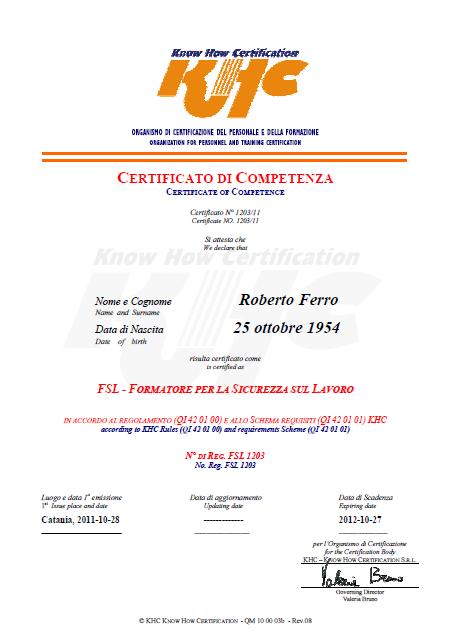khc certificato formatore sicurezza lavoro
