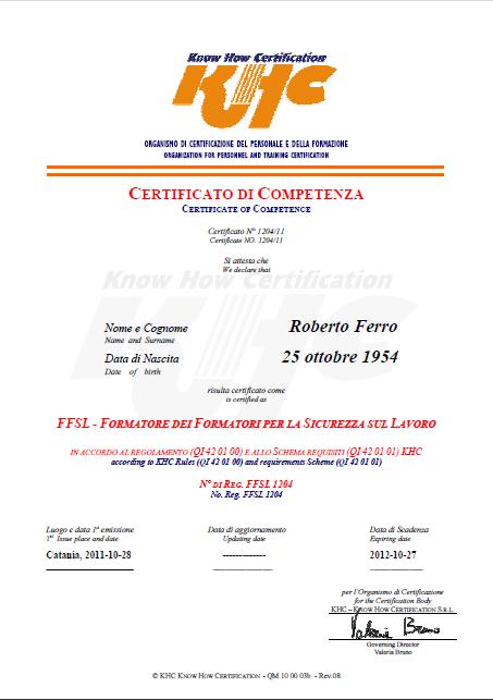khc certificato formatore dei formatori